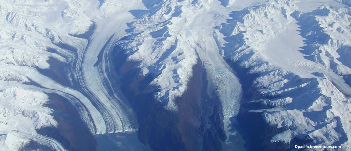 Melting glacial ice fields